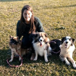 Sarah with Kizzy, Koko and Dexter